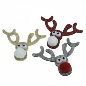 Set 6 ornamente, tip ren, textil, cu adeziv, 8 cm