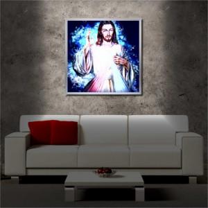 Tablou iluminat LED cu rama metalica Jesus (60 x 60 cm)