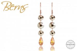 Cercei, 4 cristale Swarovski, auriu/rosegold