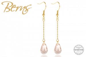 Cercei, cristale Swarovski, cu agatatoare, auriu, suflati cu aur 14k