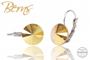 Cercei, cristale Swarovski, cu agatatoare, galben, diametru 12mm