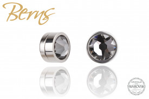 Cercei, cristale Swarovski, cu magnet, argintiu/negru