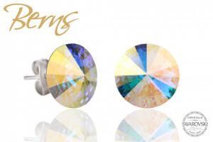 Cercei, cristale Swarovski, cu reflexii, diametru 12mm