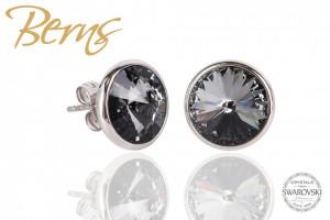 Cercei, cristale Swarovski, negru, diametru 10 mm