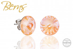 Cercei, cristale Swarovski, peach, diametru 12 mm