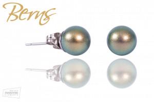 Cercei, cristale Swarovski, perla verde/aurie
