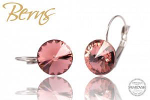 Cercei, cristale Swarovski, rosu deschis, diametru 12mm