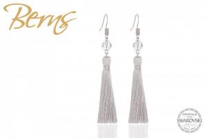 Cercei, cristale Swarovski, textil, gri/argintiu