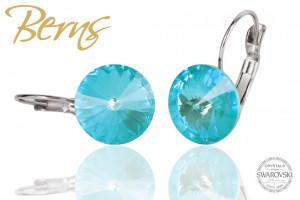 Cercei, cristale Swarovski, turcoaz, diametru 12 mm