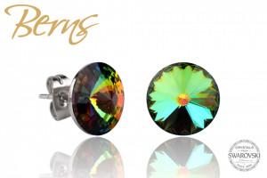 Cercei, cristale Swarovski, verde/albastru, diametru 10mm