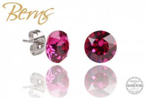 Cercei, cristale Swarovski, violet, diametru 8mm