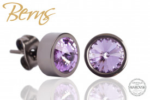 Cercei, cristale Swarovski, violet, margine gri