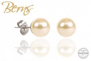 Cercei, perle Swarovski, crem, diametru, 10 mm