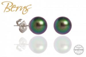 Cercei, perle Swarovski, verde, 8 mm