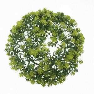 Coronita artificiala, flori verzi/galben, D20 cm