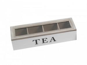 Cutie depozitare ceai, 4 compartimente, TEA