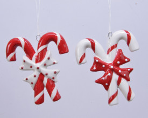 Decoratiune cu agatatoare, bomboane, rosu/alb, 8x9 cm