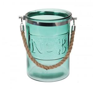 Felinar sticla color, cu maner din iuta, 15x21 cm