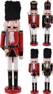Figurina de lemn, Spargator de nuci, caciula textila, rosu/negru, 50 cm