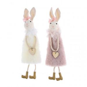 Figurina textila, agatatoare, iepuras cu blanita, roz, 30x9 cm
