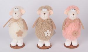 Figurina textila, oita, Alb/Roz/Bej, 11 cm