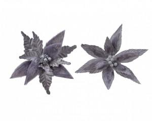 Floare artificiala, Craciunita gri, blana, sclipici, 29 cm