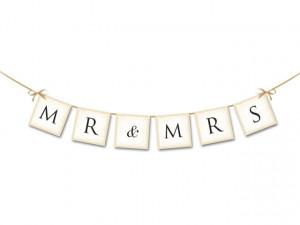 Ghirlanda hartie Mr&Mrs 77 cm