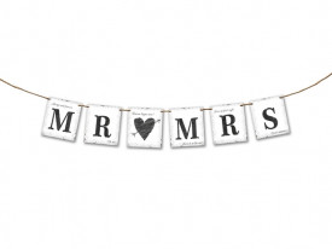 Ghirlanda hartie Mr&Mrs inima 77 cm
