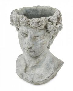 Ghiveci de piatra, forma cap barbat, gri, 23x17 cm