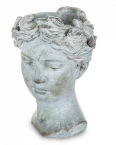 Ghiveci forma cap femeie, gri 18x19x27 cm