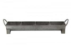 Ghiveci metalic gri, cu 4 compartimente, 56x12x12 cm