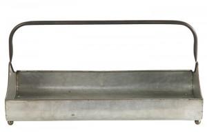 Ghiveci metalic gri, tip tava, 45x23x24,5 cm