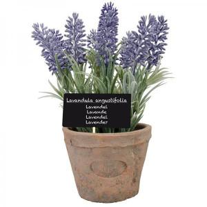 Ghiveci teracota cu floare artificiala lavanda, 22x11 cm