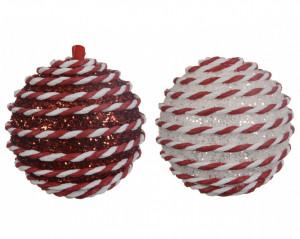 Glob brad, rosu/alb, 8 cm