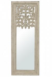 Oglinda de perete, cadru lemn, alb antichizat, 121.5x42.5x4 cm