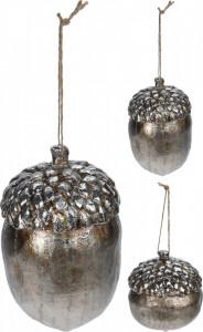 Ornament cu agatatoare, ghinda argintie, 12 cm