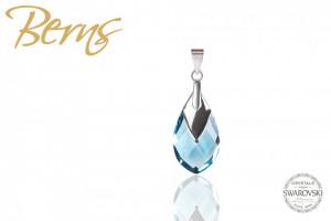 Pandantiv, cristal Swarovski, albastru, forma lacrima