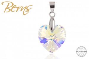 Pandantiv, cristal Swarovski, cu reflexii, forma inima
