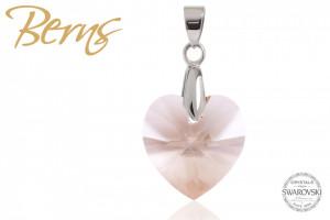 Pandativ, cristale Swarovski, forma inima, alb, 18mm