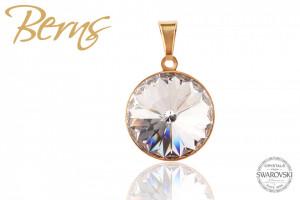 Pandativ, cristale Swarovski, margine aurie, diametru 14mm