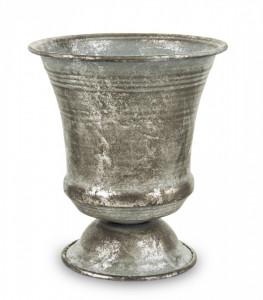 Pocal metalic, gri antichizat, 16 x 14 x 14 cm