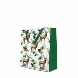Punga de cadou, Deers And Holly, 25x10x20 cm