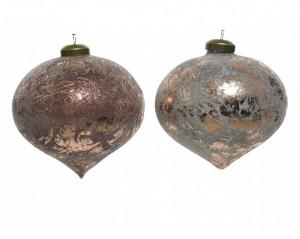 Set 2 globuri, con, bronz marmorat, 10 cm