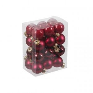 Set 24 globuri sticla, rosu, 2.5 cm