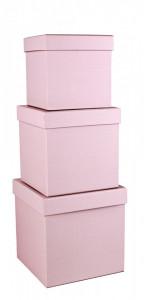 Set 3 cutii patrate, roz cu buline, 16x16 cm