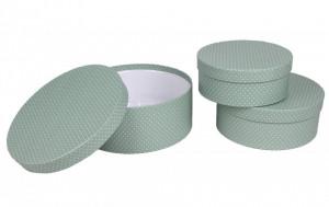 Set 3 cutii rotunde, verde cu buline, 8x20 cm