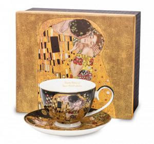 Set cana + farfurie portelan, negru, Gustav Klimt