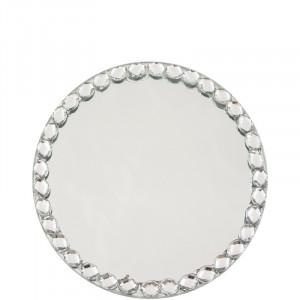 Suport lumanare oglinda, cu margele, 12.5 cm