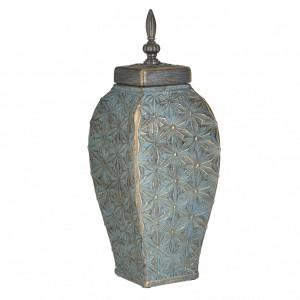 Vaza ceramica cu capac, auriu/verde antichizat, 14x39 cm