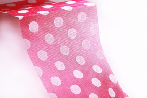 Banda organza, roz cu buline, 25mm x 10 m